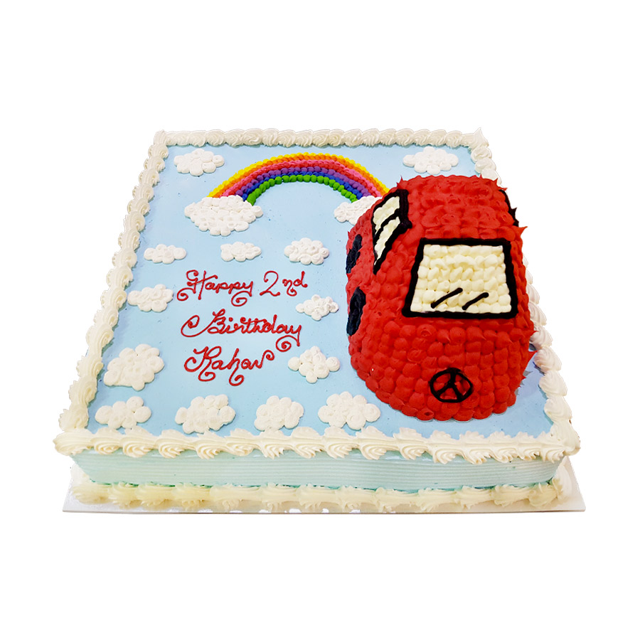 Little Car Amp Raibow Square Cake Just Cakes