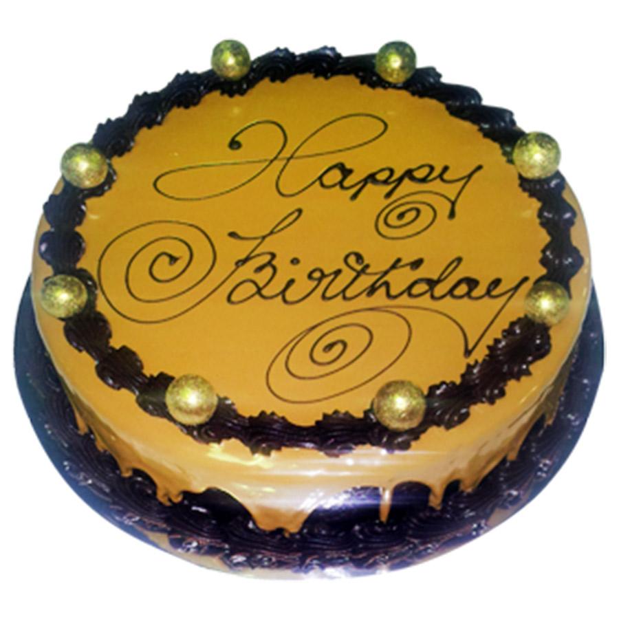 Round Birthday Cake Images : Caramel Mud Round Happy Birthday Cake Just Cakes