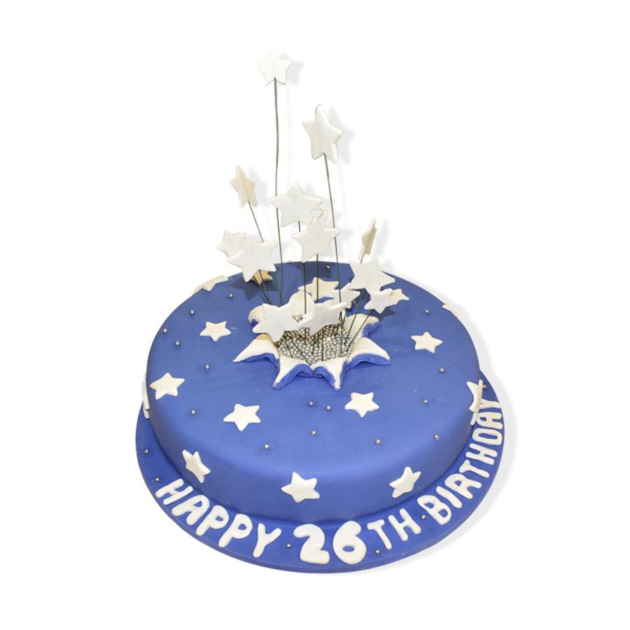 Bule Sky Stars Round Cake Just Cakes