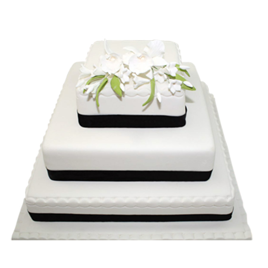3 Tier Black & White Wedding Cake | Just Cakes