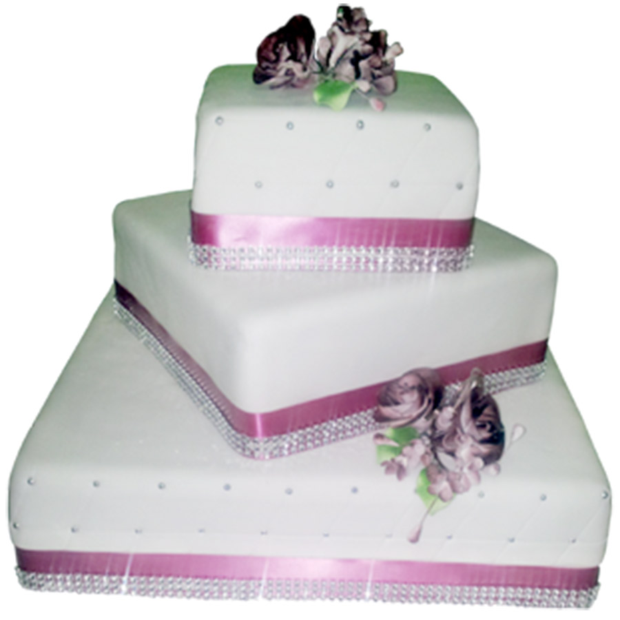 3 Tier Pink White Wedding Cake Just Cakes