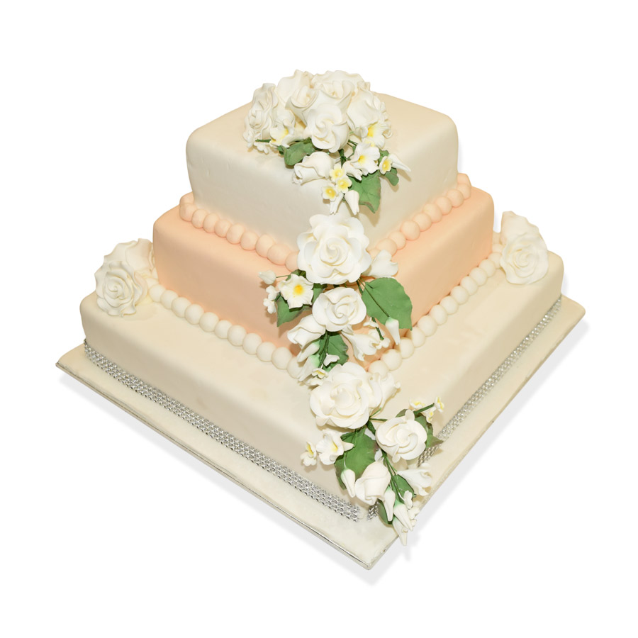 3 Tier White & Peach Wedding Cake | Just Cakes