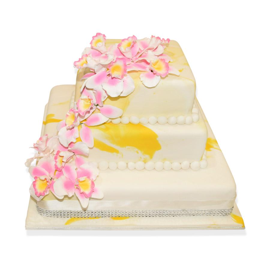 3 Tier White & Yellow Wedding Cake | Just Cakes